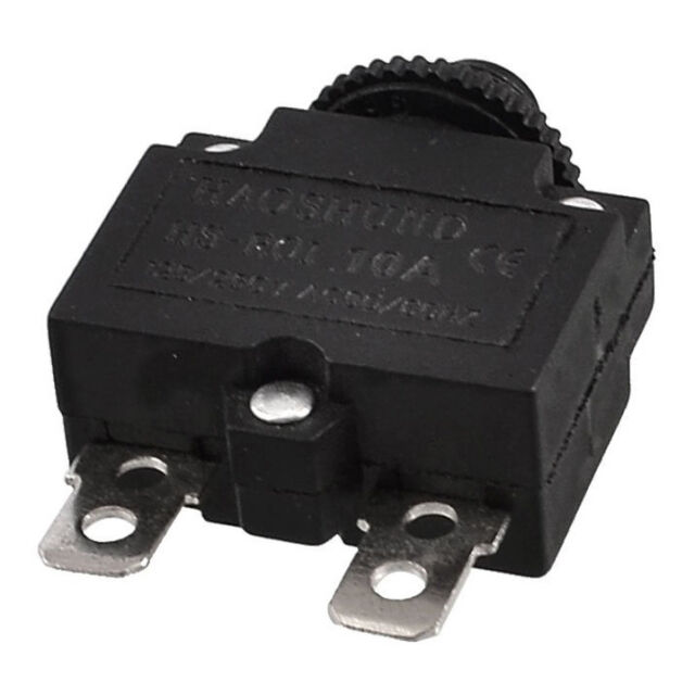 AC 125/250V 10A Circuit Breaker Thermal Overload Protector Black W3V9