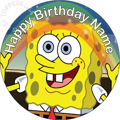 EDIBLE Spongebob Birthday Party Cake Topper Wafer Paper Round 7.5