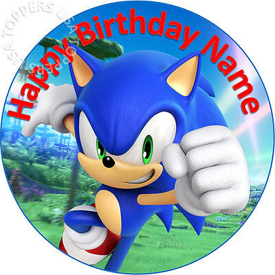 EDIBLE Sonic the Hedgehog Birthday Cake Topper Wafer Paper Round 7.5