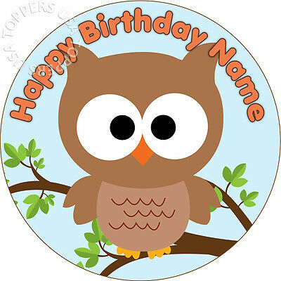 EDIBLE Cute Owl Birthday Party Cake Topper Wafer Paper Round 7.5