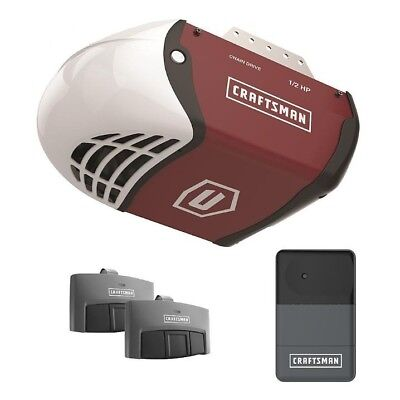 Craftsman 1/2 HP Secure Drive Garage Door Opener System w/ 2 Remotes & Rail