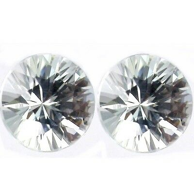 NATURAL DIAMOND WHITE ZIRCON LOOSE GEMSTONES (2 pieces) ROUND DIAMOND CUT