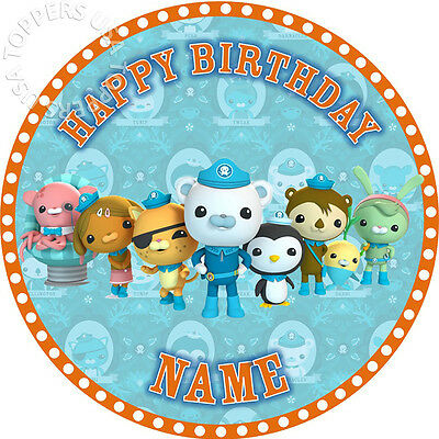 EDIBLE Octonauts Birthday Party Cake Topper Wafer Paper Round 7.5