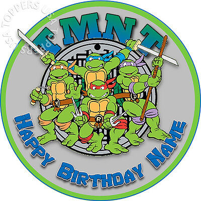 EDIBLE TMNT Ninja Turtles Birthday Party Cake Topper Wafer Paper 7.5