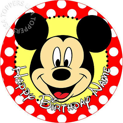 EDIBLE Mickey Mouse Birthday Party Cake Topper Wafer Paper Round 7.5