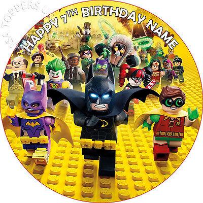EDIBLE Lego Batman Movie Birthday Cake Topper Wafer Paper round 7.5