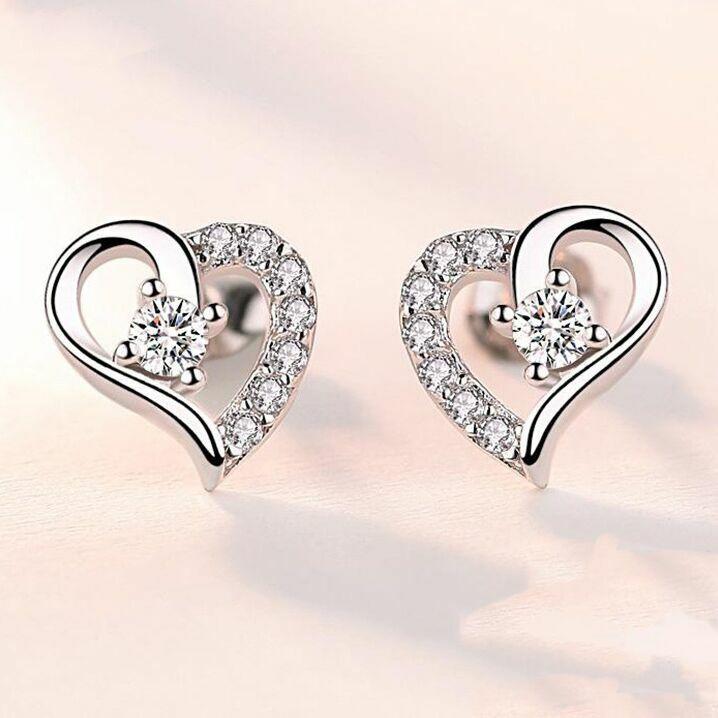 Jewellery - Crystal Heart Stud Earrings Women Girls 925 Sterling Silver Jewellery Gift UK