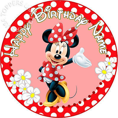 EDIBLE Minnie Mouse Red Birthday Cake Topper Wafer Paper Round 7.5