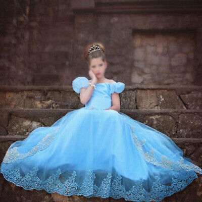 Sandy Princess Cinderella Cosplay Costume Kids Girls Party Fancy Long Dress Gown