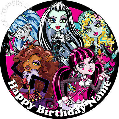 EDIBLE Monster High Cake Topper Birthday Party Wafer Paper Round 7.5