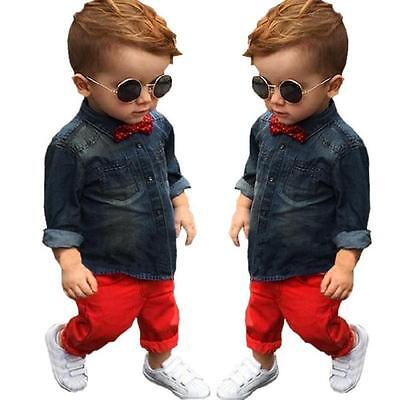 2 Pcs Toddler Baby Boys Formal Coat T-Shirt+Red Pants Clothes Outfits Denim