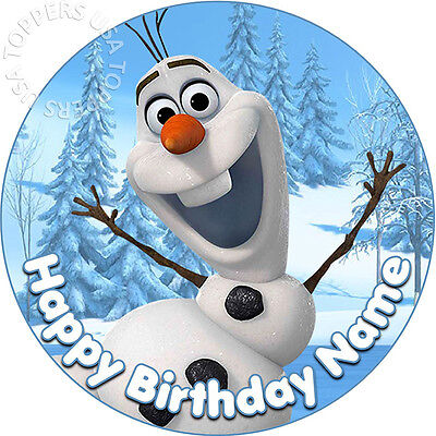 EDIBLE Olaf Frozen Birthday Party Cake Topper Wafer Paper Round 7.5