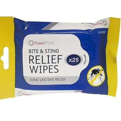 25 x Long Lasting Mosquito & Insect BITE & STING Smoothing Relief Wipes Holiday