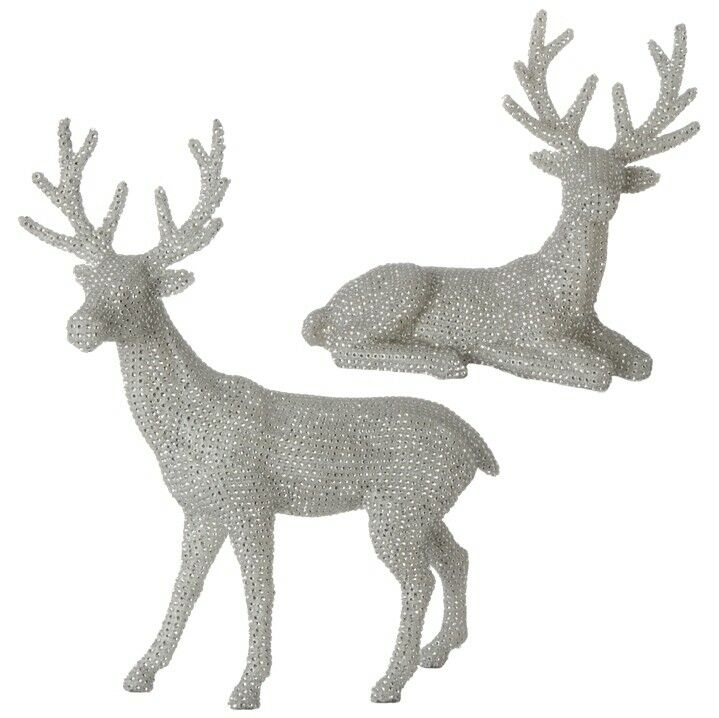 "RAZ Imports Large 20"" Silver Deer Stone Reindeer Set/2 Christmas Rhinestone Like"