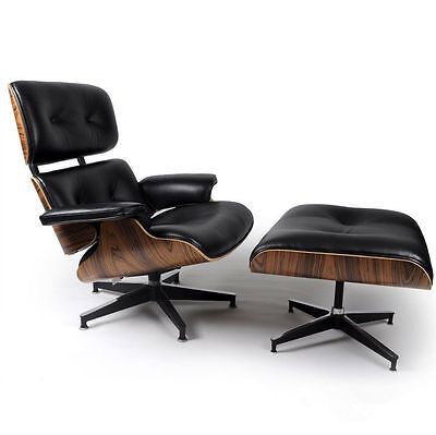 Eames Waiting-room Chair & Ottoman Reproduction Style Replica REAL LEATHER