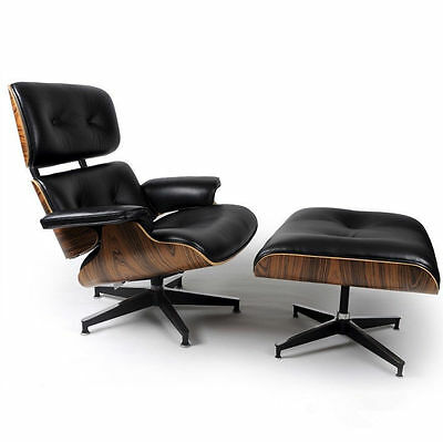 eMod Eames Style Lounge Chair & Ottoman - Eames Style Reproduction Replica Black for sale  Maspeth