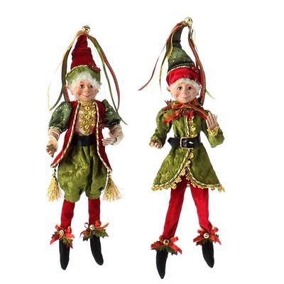 "BOTANICAL GARDEN RED & Leafy ELF 16"" POSABLE DECORATIONS RAZ (SET OF 2) 3602227"