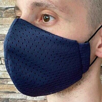Gr M Coolmax® Mesh Arbeitsmaske 8-Stunden Mundschutz Gesichtsmaske navy blau