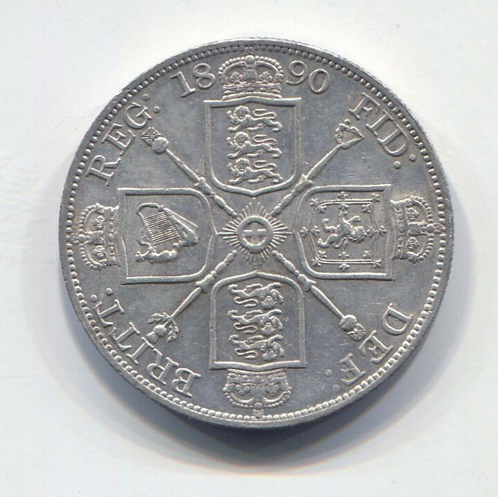 GREAT BRITAIN - FANTASTIC HISTORICAL SCARCE QV SILVER DOUBLE FLORIN, 1890