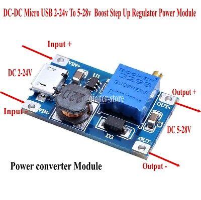Dc Micro Usb 2-24v To 5-28v Boost Step Up Regulator Power Module 2a Adjustable
