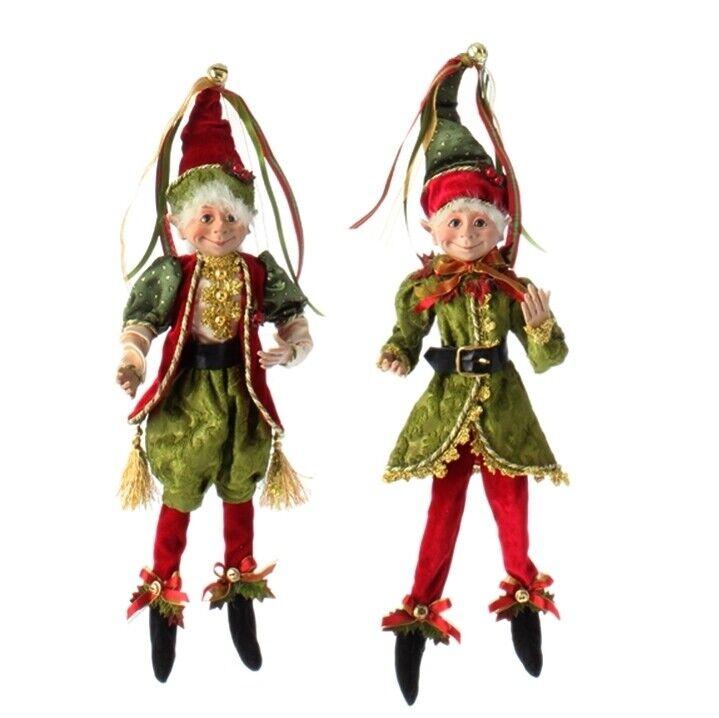 "RAZ Imports 19"" Posable Elf Ornament Set/2 Green Red Whimsical Christmas NEW!"