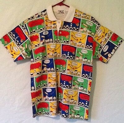 Snoopy Peanuts Charlie Brown Comic Strip Happy Birthday Polo Shirt Child's Large ()