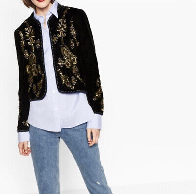 Zara Embroidered Beaded Velvet Jacket Size L EUC