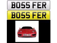 BOSS FERRARI private number plate cherished personalised car reg - BO56 FER & BO59 FER