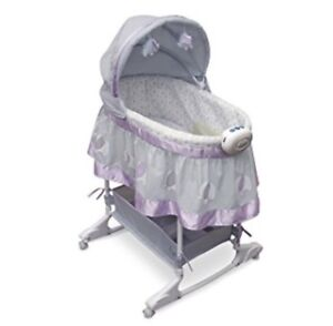 Pink and Grey Elephant Bassinet