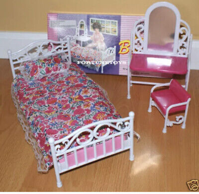 GLORIA FURNITURE Size BEAUTY BEDROOM W/ MIRROR PILLOW PLAY SET FOR DOLL HOUSE