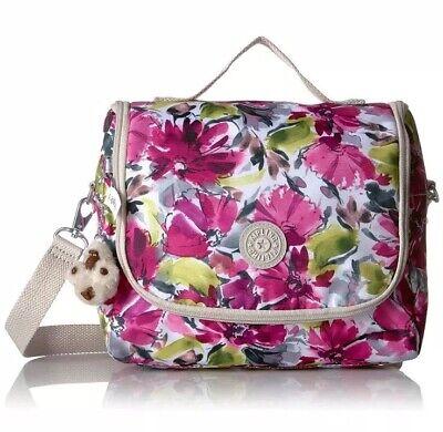 NWT Kipling Kichirou Blushing Posies Flowers Nylon Insulated Lunch Bag Crossbody