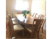 Solid Dining Table & 8x Chairs