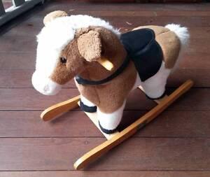 Wood Soft Plush Toy Rocking Horse - Retro Toys Elsternwick Glen Eira Area Preview