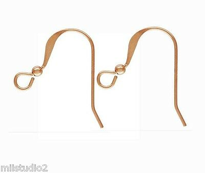 14k ROSE gold filled 2mm bead  french hook earring ear wire GF EARWIRE E12rg-20 20 Rose Gold Filled Wire