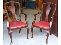 Beautiful Pair Of Walnut Open Armchairs With Urn-Backs And Scallop Detail