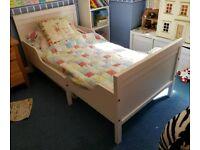 Sundvik white timber extendable single childs toddler kids bed
