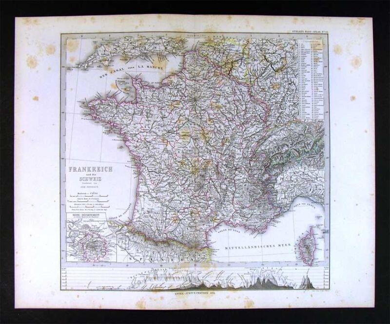 1874 Stieler Map - France - Paris Chartres Marseilles Le Havre Bordeaux Tours