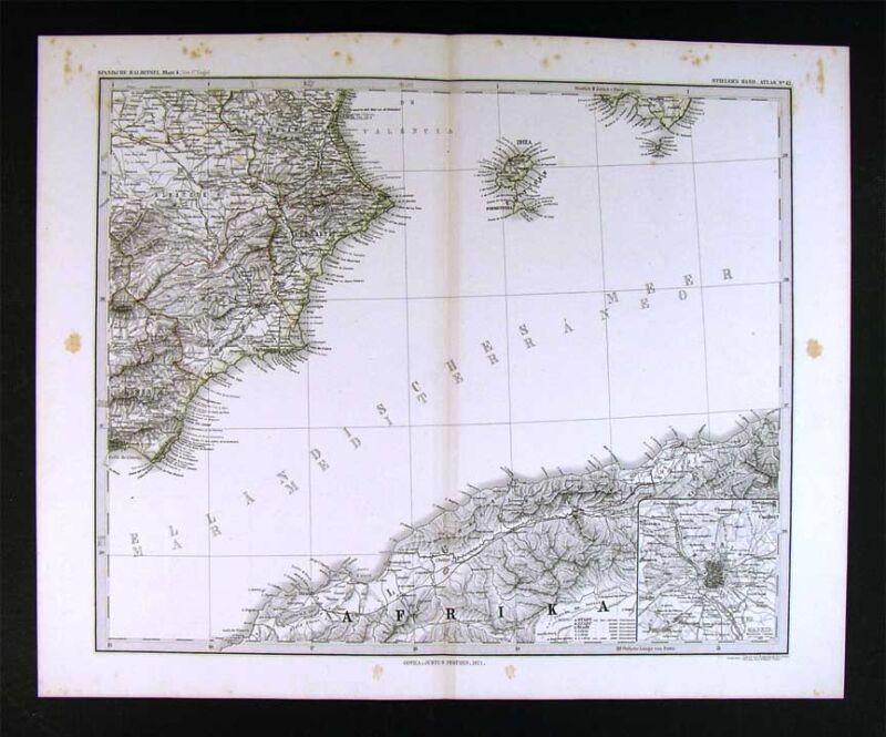 1874 Stieler Map - Spain & Alger N. Africa Madrid Plan Ibiza Valencia Cartagena