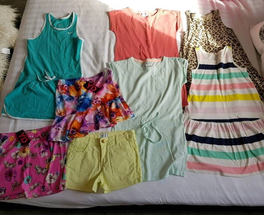 GIRLS SUMMER CLOTHES BUNDLE age 7-8 years dresses shorts