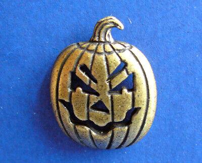 JJ PIN Halloween Vintage PUMPKIN JOL Scary PEWTER Bronze Tone Tie TAC Brooch