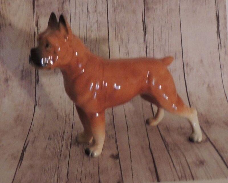 "Vintage Rare Ucagco Boxer Bulldog Ceramic Figurine with Foil Tag 5 1/2"" Japan"