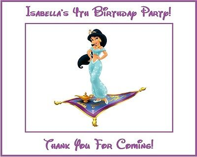 (9) Personalized Aladdin Party Stickers,3 1/4