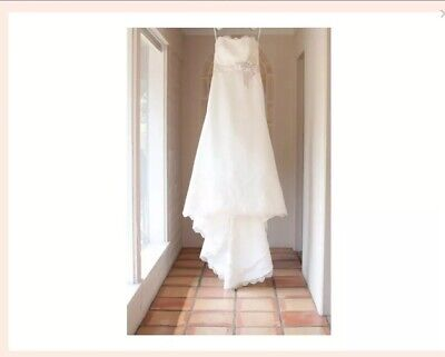 Allure Bridal Size 8 Wedding Dress Satin Lace Train Strapless Ivory Style #L290