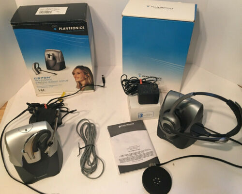 Lot of 2 Plantronics Wireless Headsets CS70N CS351N w/Base Chargers & Boxes
