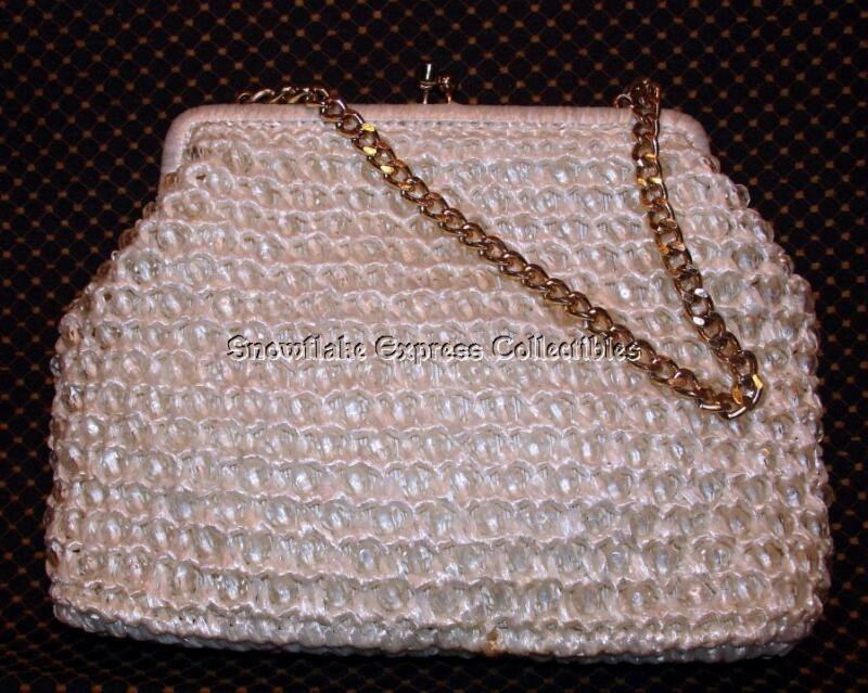 Vintage Woven Raffia & Clear Beaded Fun Handbag Made in Japan