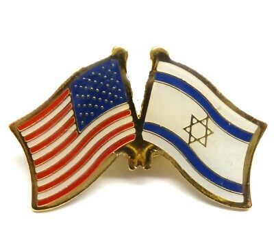 USA American Flag Israel Flag Lapel Hat Cap Pin Crossed Flags Friendship Tie Tac