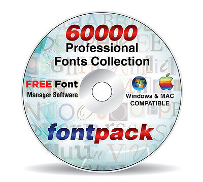 60000 Professional Fonts Collection Library Pack + FREE Font Management Software