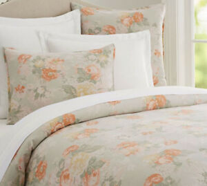 Pottery Barn Queen Size Organic Cotton Duvet Cover/Linen Shams