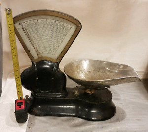 antique scale with brass trim