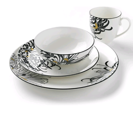 Brand New Denby Monsoon Chrysanthemum Dinnerware Boxed Set, 16-Piece